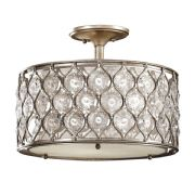 Lucia 3 Light Semi-Flush in Burnished Silver with a Linen Inner Shade and Glass Diffuser - FEISS FE/LUCIA/SF